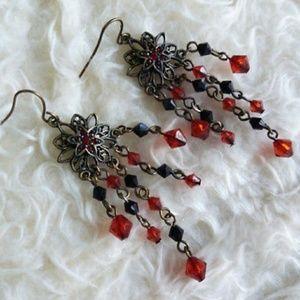 New Black Tone Red Black Bead Rheinstone Earrings